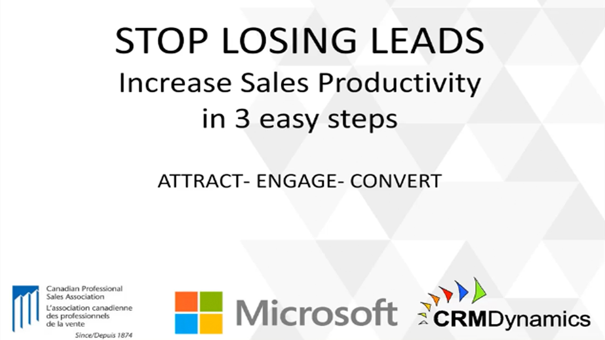 Stop losing Leads - Increase sales productivity in 3 easy steps