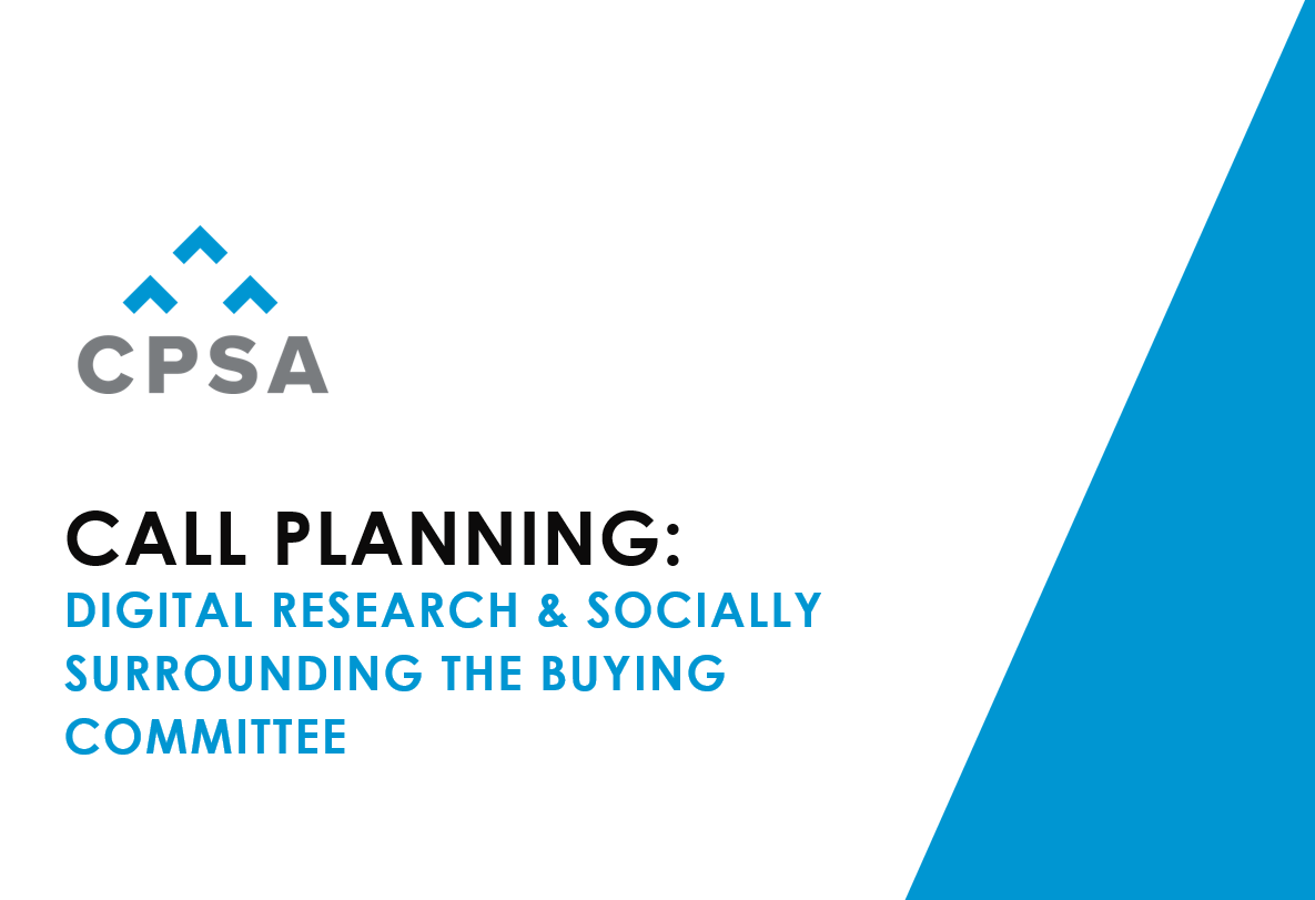 CPSA Webinar Recording - Digital Research: Understanding your Buying Committee Before your Meeting