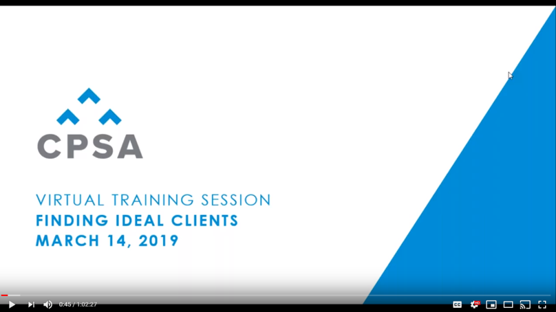 CPSA Virtual Training Session: Finding Ideal Clients