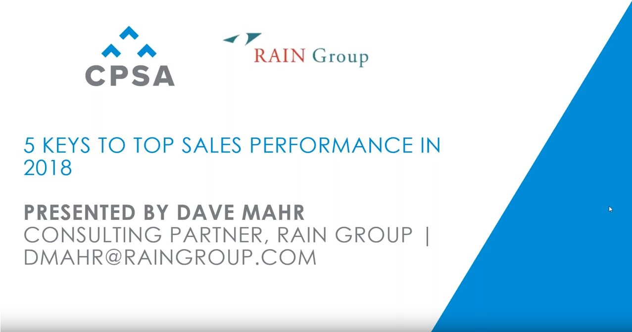 """CPSA Webinar Recording: Ask An Expert - """"What do top performing sales organizations do differently in 2018"""""""
