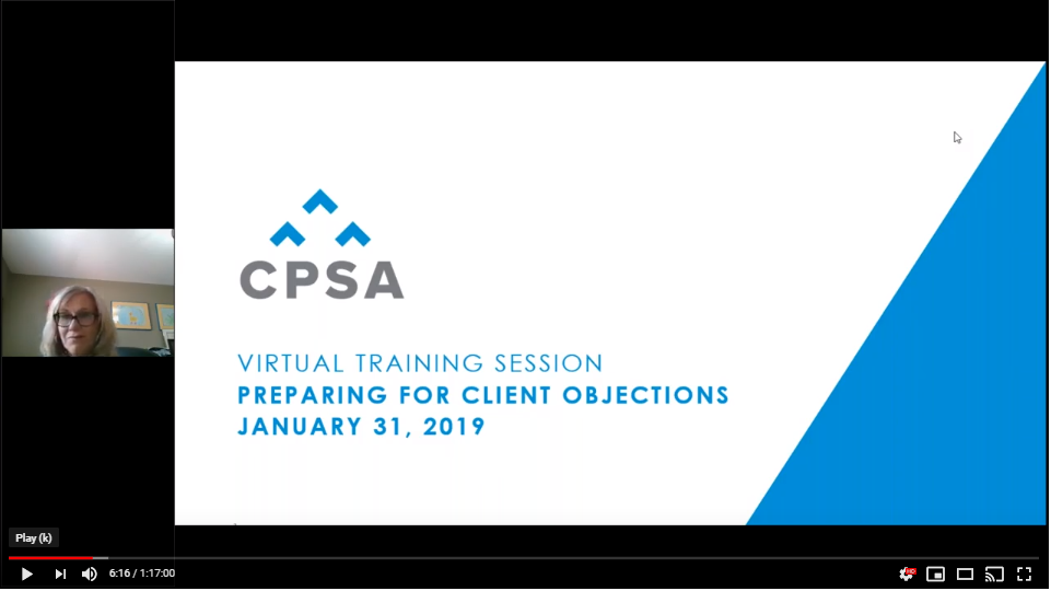 CPSA Virtual Training Session: Preparing for Client Objections